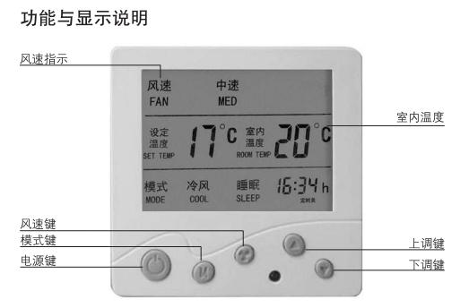 中央空调温控器显示说明