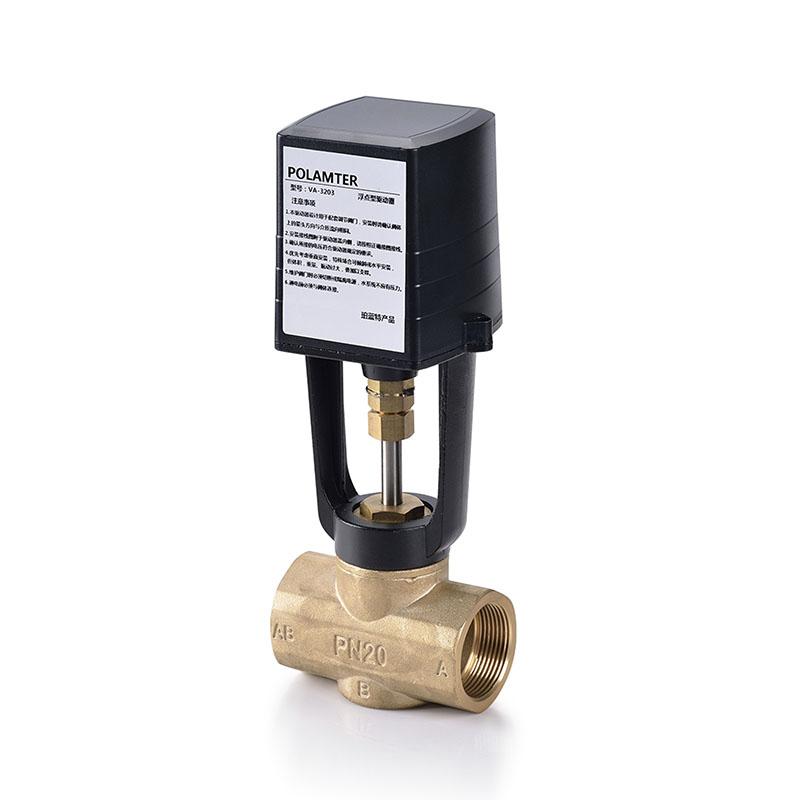 珀蓝特VA3203电动调节阀 VA3203电动调节阀产品概述: VA3203系列驱动器与电动调节阀配套使用,能够实现阀门的浮点控制。通过阀体的调节控制,实现系统管道中介质流量的调节功能从而达到系统恒温、恒压、恒湿等参数的控制目的,广泛应用于空调、采暖以及其它楼宇自控系统中。 VA3203电动调节阀产品特点: 1、执行器选用压铸铝支架及铸铝外壳; 2、阀体与执行器灵活组合,可适应不同压差的需求; 3、执行器选用同步电机,有限位断电保护功能。能在停顿的情况下产生稳定的扭力使阀门可以静止在任何位置; 4、正反转